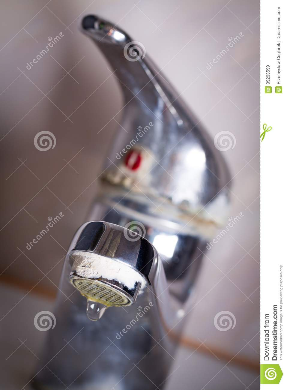 Old Leaking Faucet With Stone And Calcium Sediments. Stock Image ...