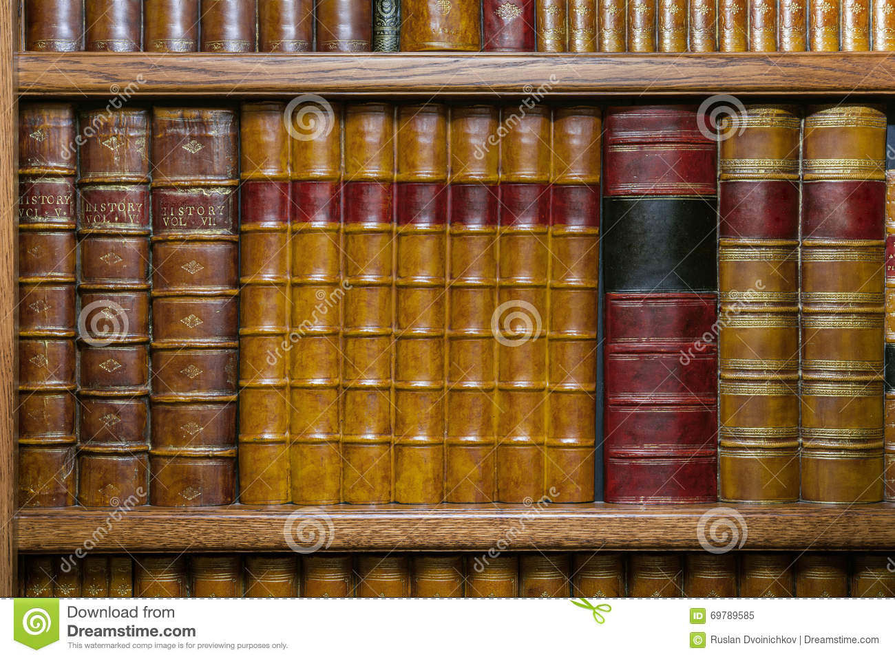 Old Leather Bound Books On The Shelf Stock Image Image Of