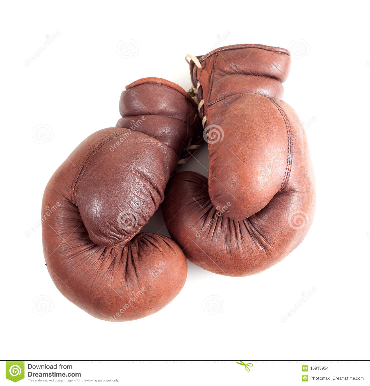 Old Leather Brown Boxing Gloves Stock Photo Image Of