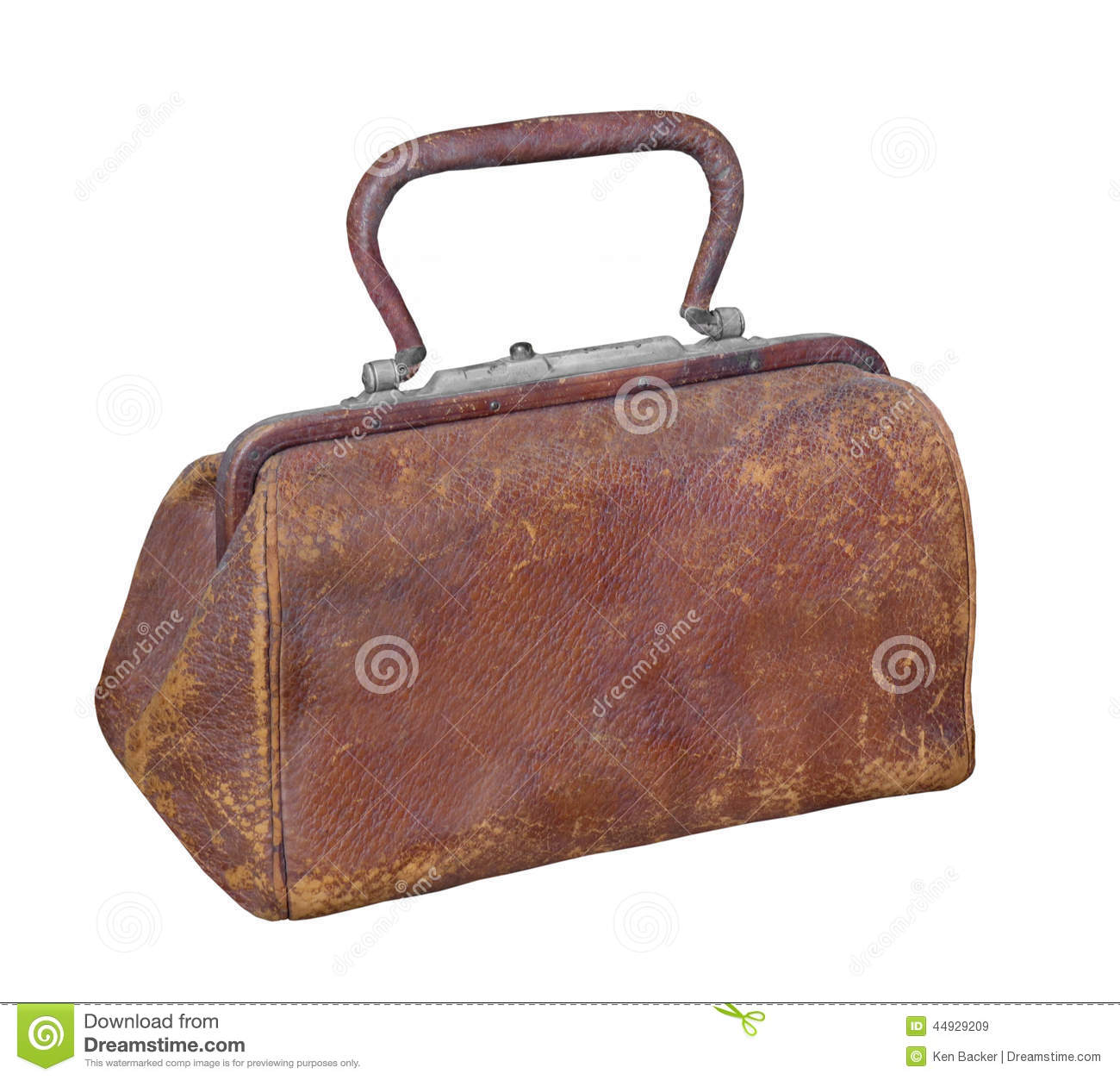Old Leather Doctor S Type Bag Isolated Stock Photo