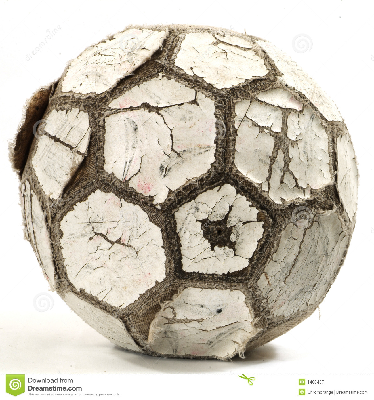 Old Well Used Leather Black Black and White Soccer Ball.