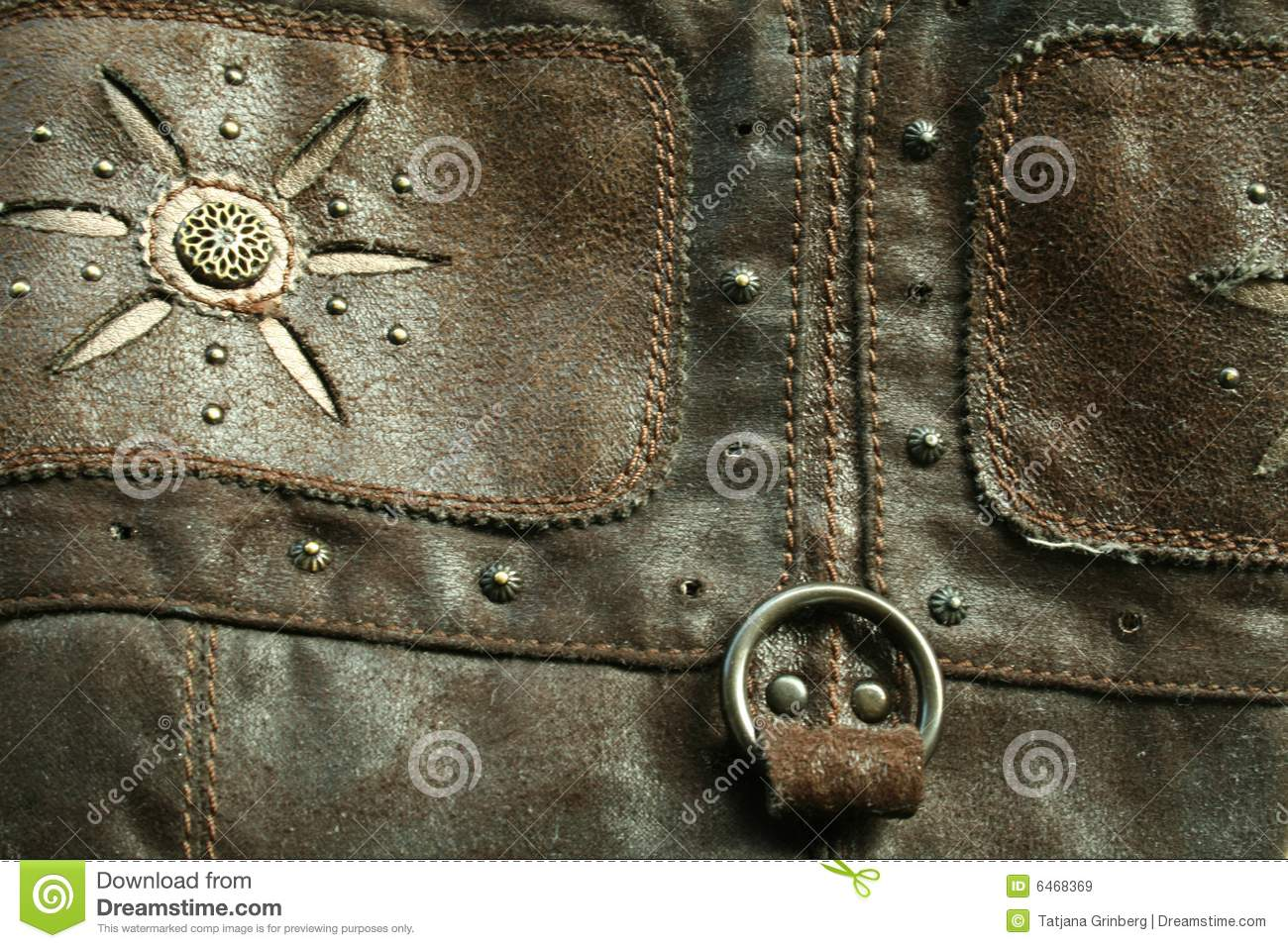 The old leather with the metallic rivets