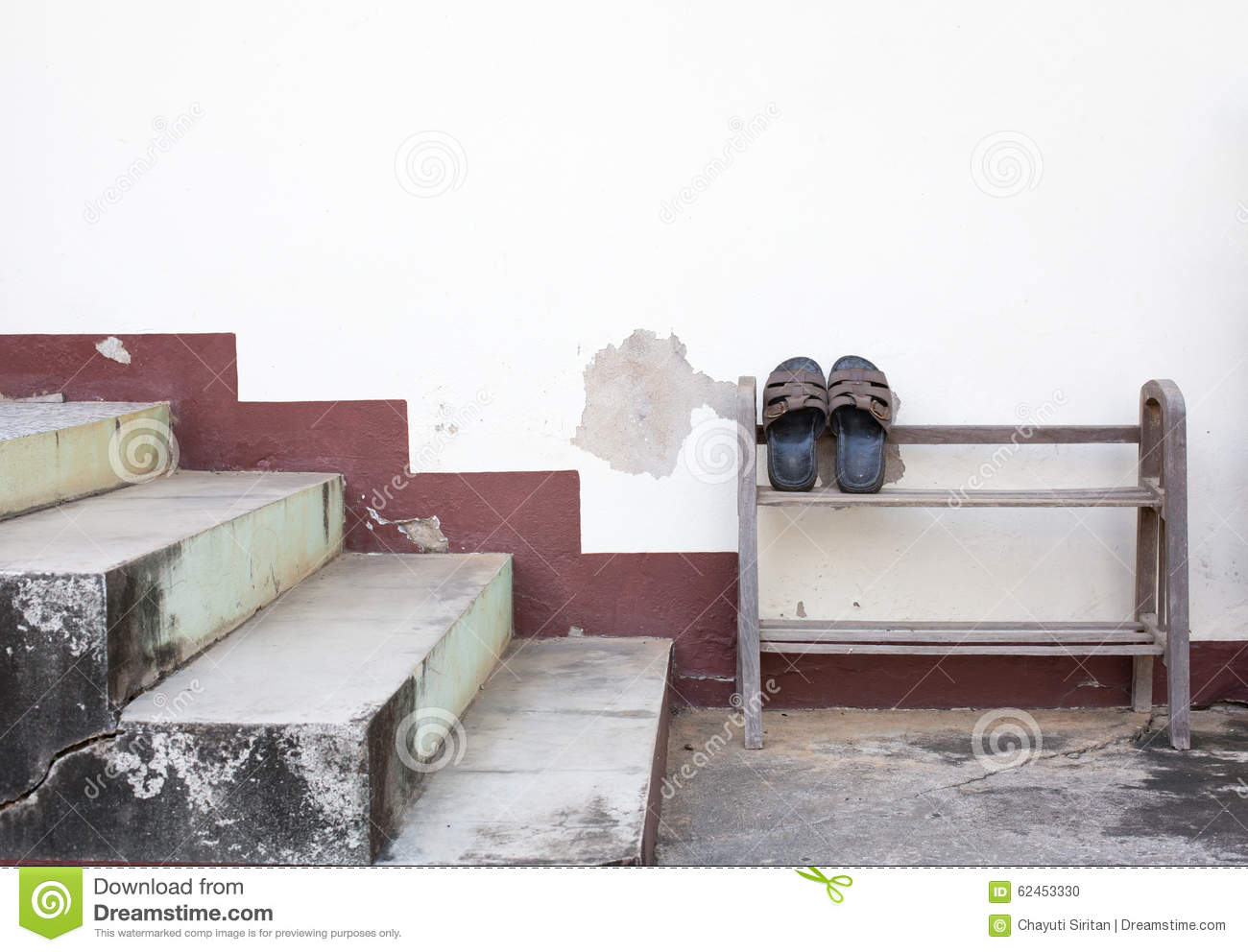 Slipper Stand Designs : Old leather slipper stand on a rack stock photo image