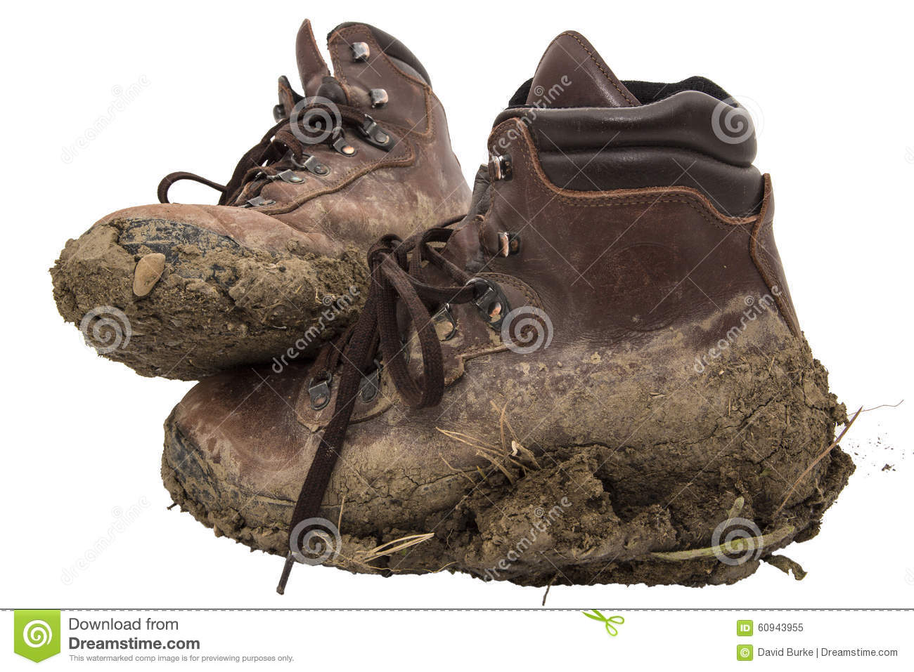 Old Leather Work Hiking Boots Isolated Stock Photo - Image: 60943955