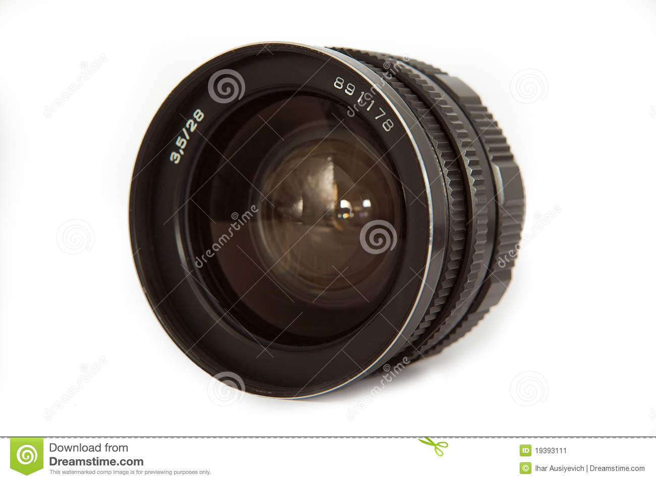 Old lens isolated ower white
