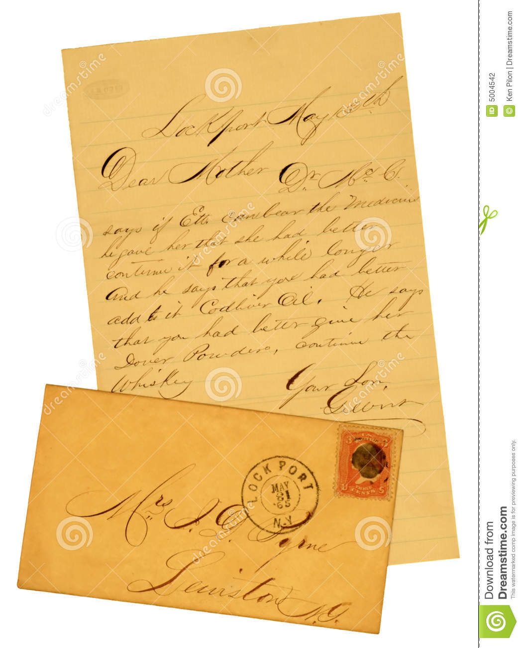 old letter and envelope of 1865 stock photo image of paper