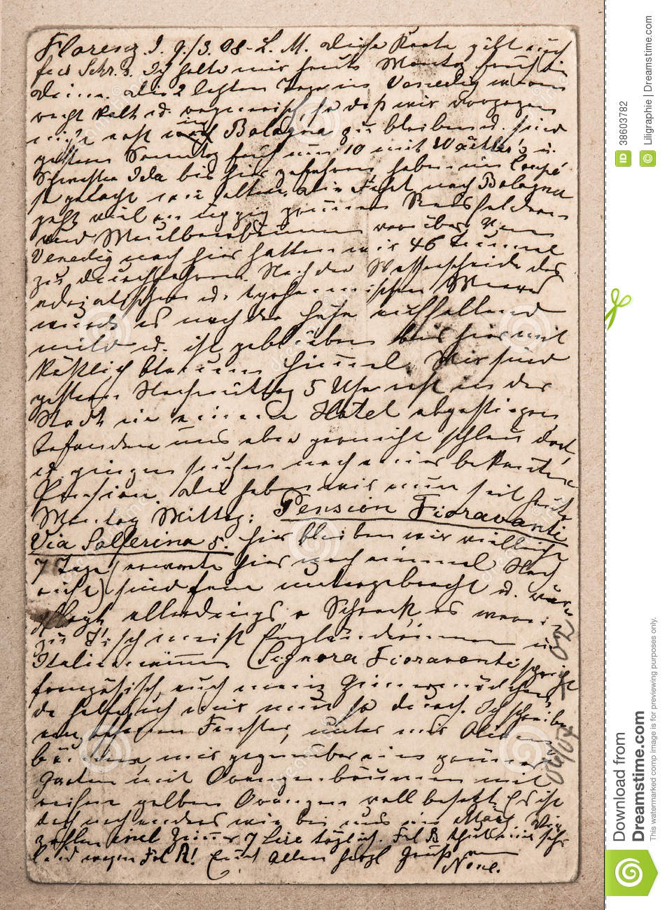 old letter with handwritten italian text stock photo