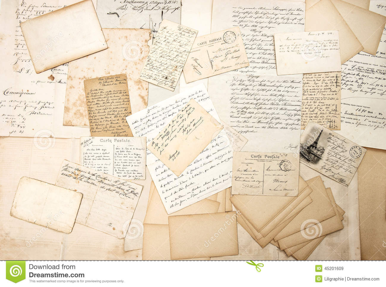Old letters handwritings and vintage postcards stock photo image 45201609 - Lettre lumineuse vintage ...