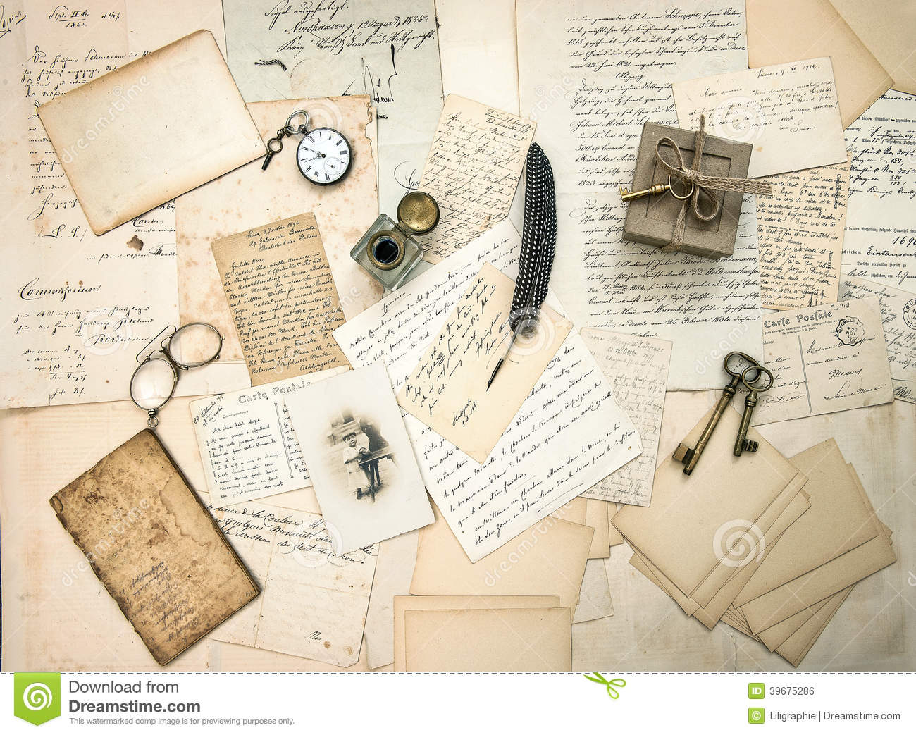 old letters and postcards  vintage accessory and antique