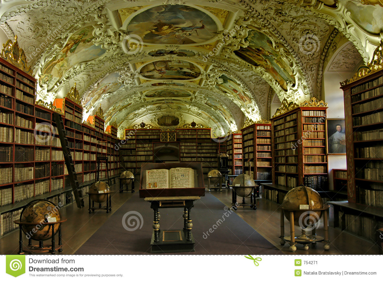 Old university library in Prague, Czech Republic.