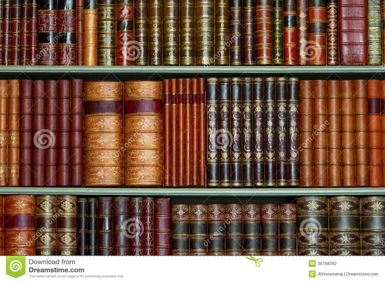 Stock Photography: Old library of vintage hard cover books on shelves