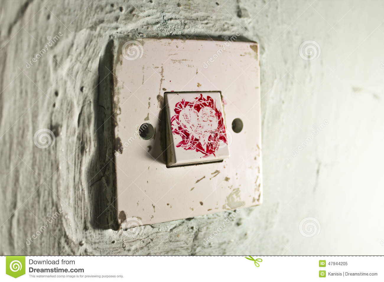 Old Light Switch With Red Paint Heart On Old Cracked Green