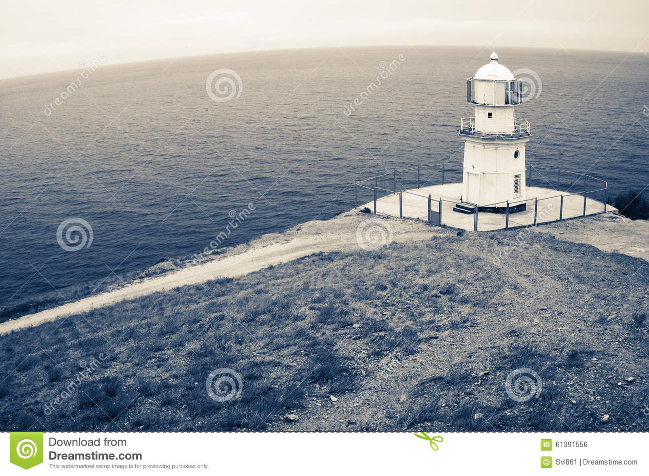 Old lighthouse on rock