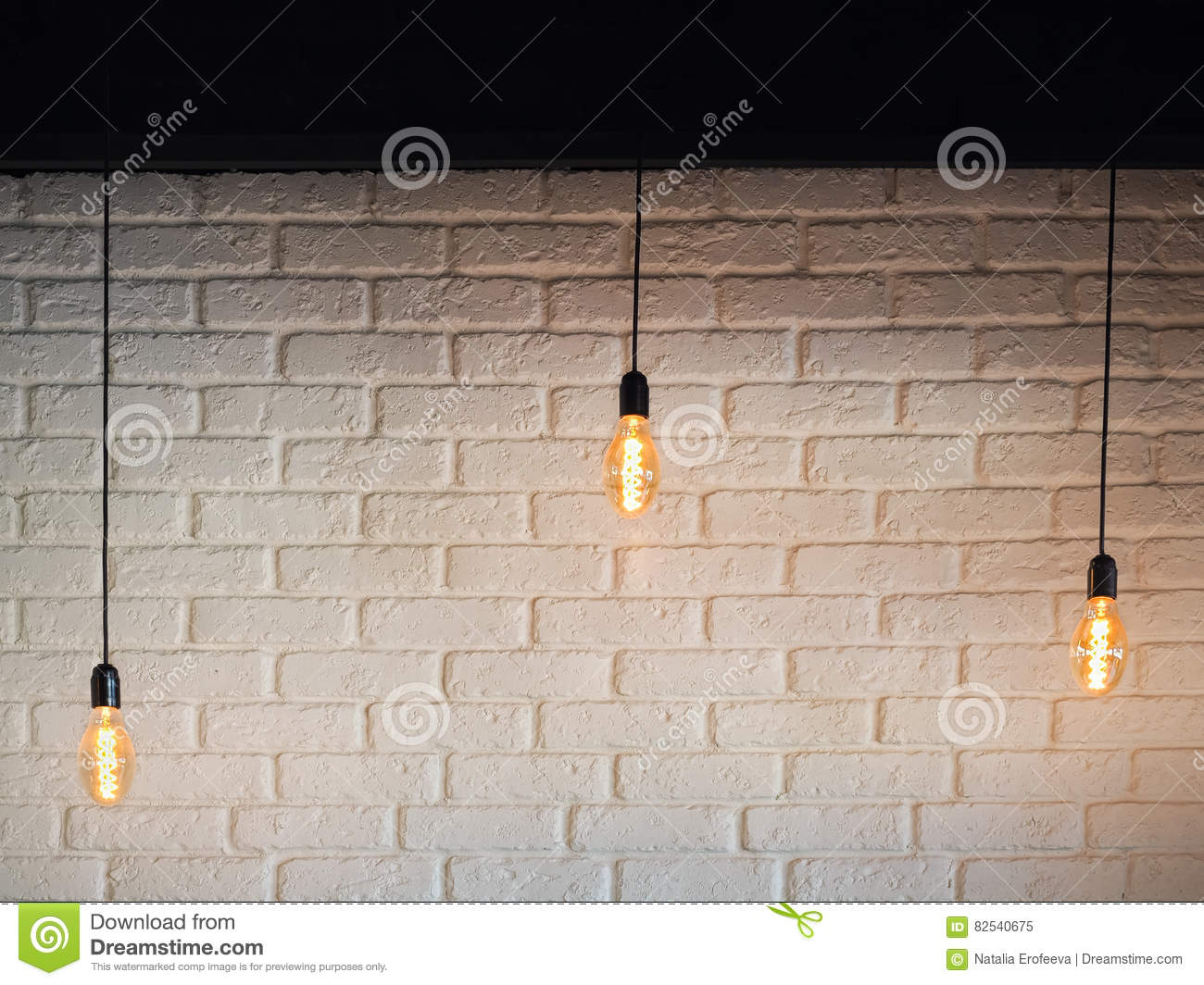Old Lighting Electric Bulb, Retro Lamp On A Background Of A White ...