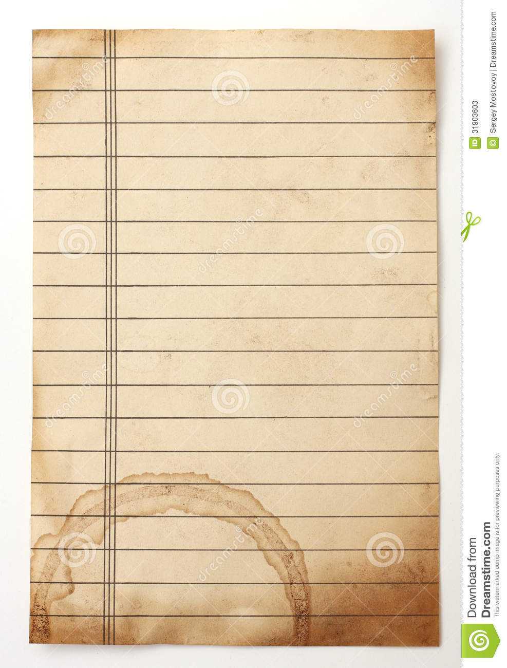 Old Lined Paper Stock Photos - Image: 31903603