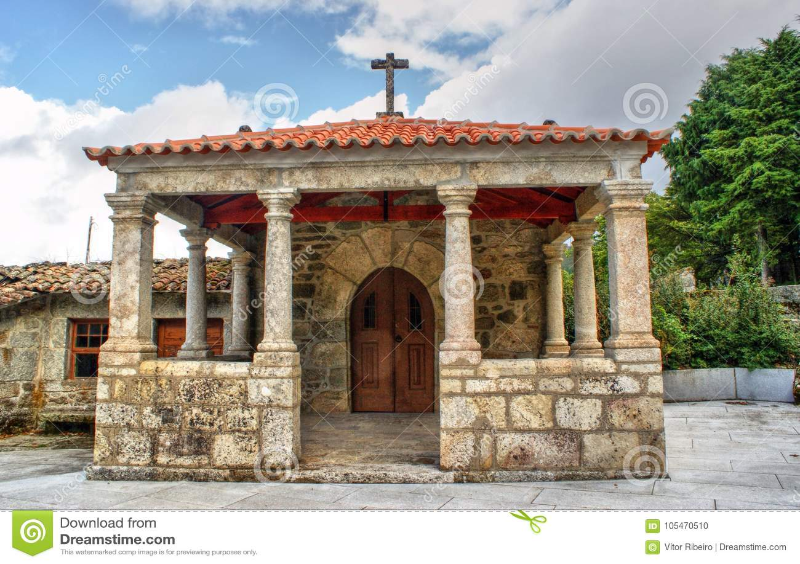 Download Old Little Church In Vila Pouca De Aguiar Stock Photo - Image of little, historic: 105470510