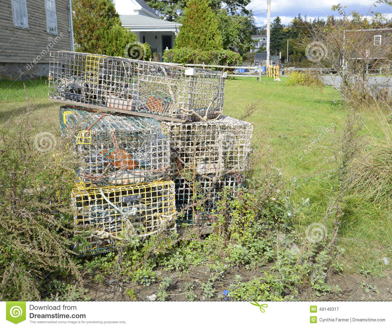 Old lobster traps stock image image of fishing metal for Who sells fishing license near me