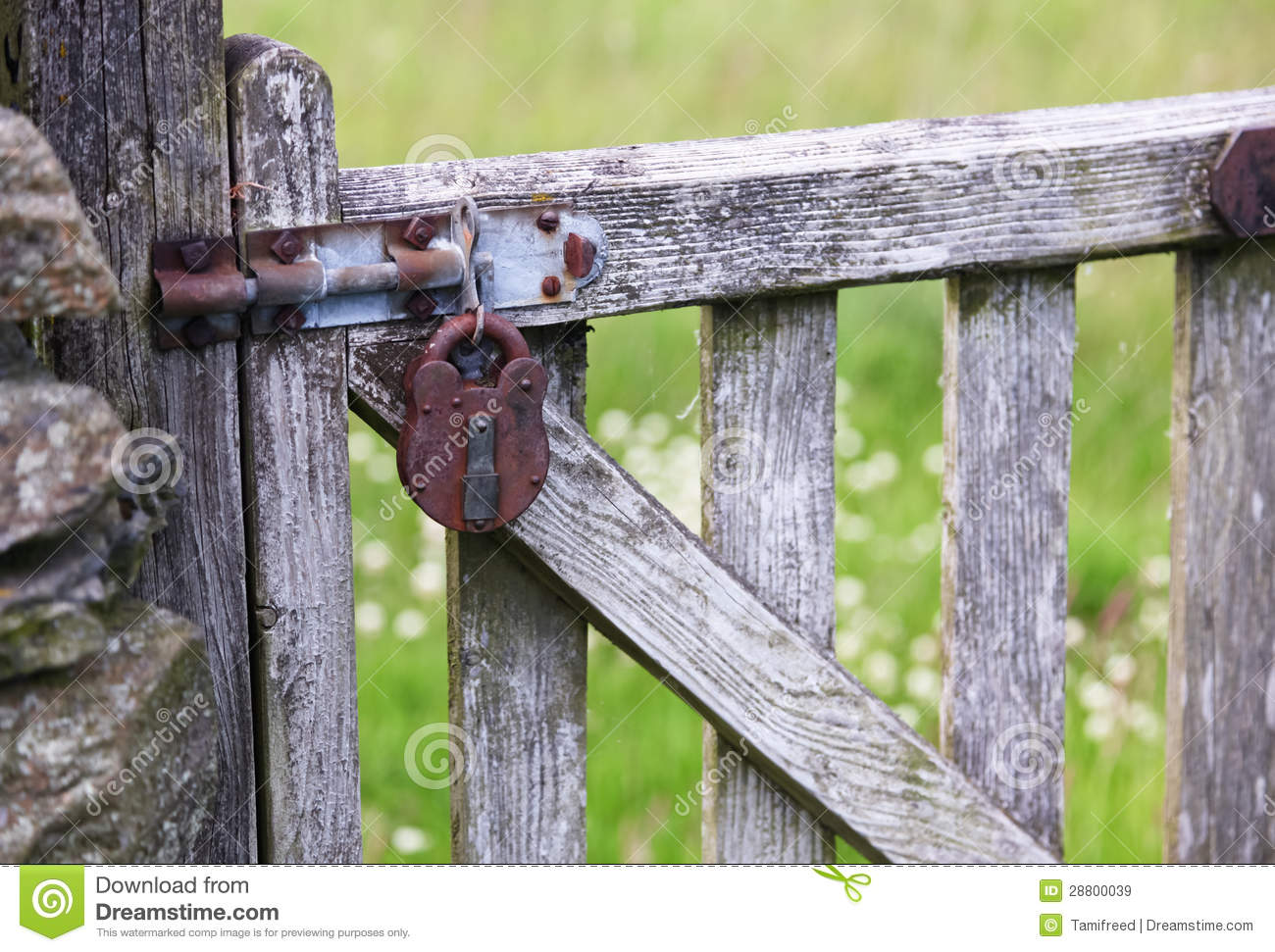 Old Lock on a Gate stock image  Image of pick, rock, rusty