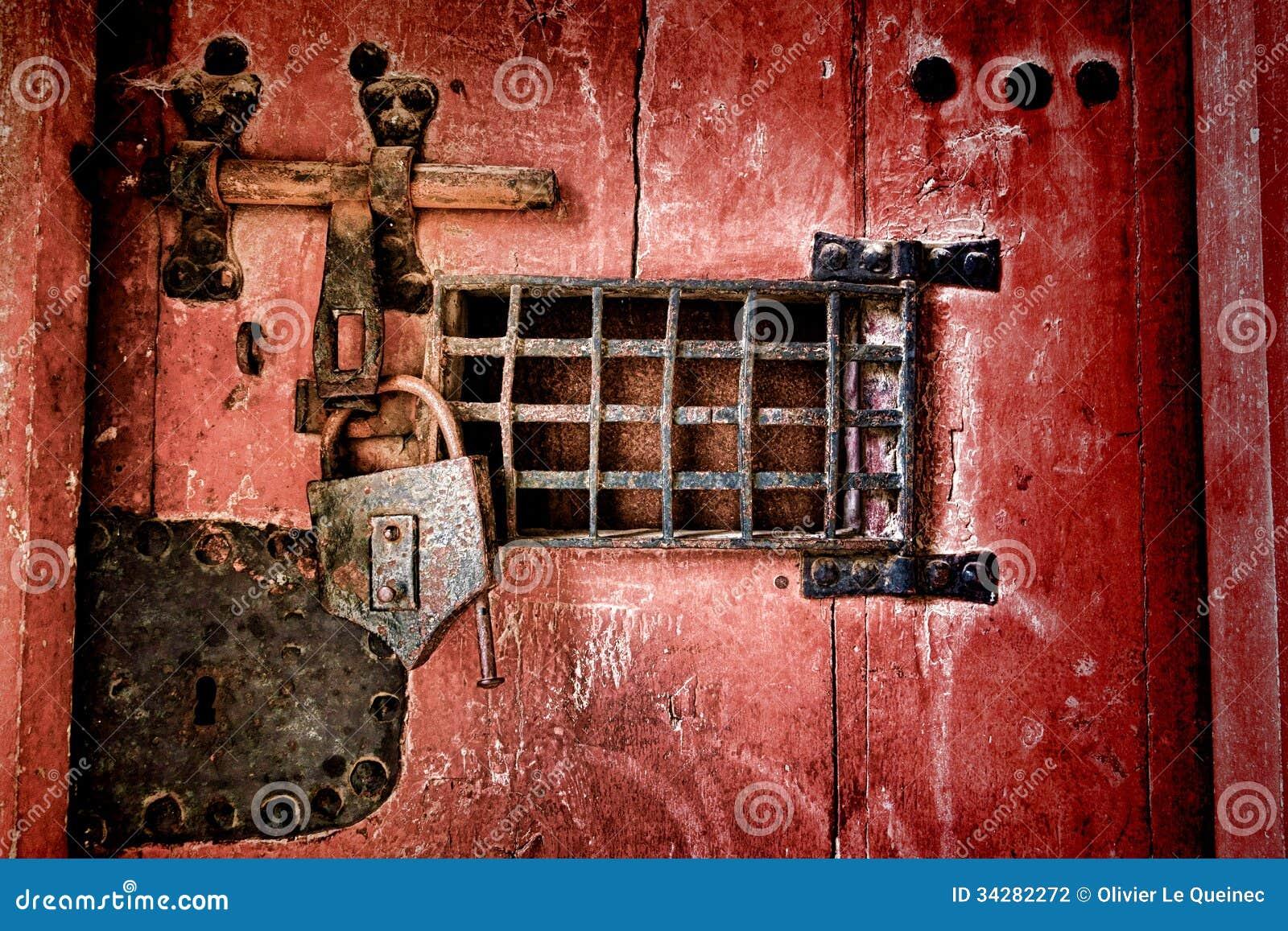 Old Lock And Locking Hardware On Antique Jail Door Stock