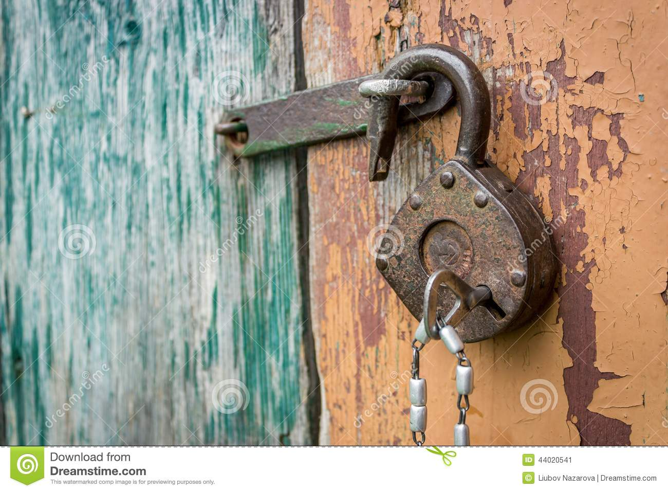 Old lock stock image image of protection padlock closeup 44020541 - How to open chain lock ...
