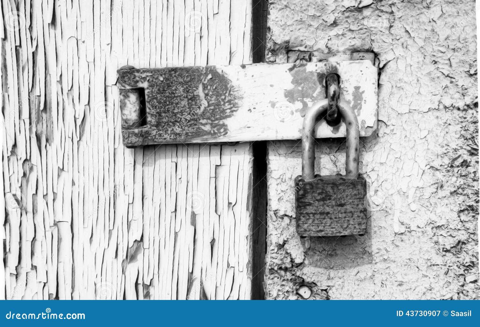 Old Lock In Peeling Painted Wood Door Stock Photo Image