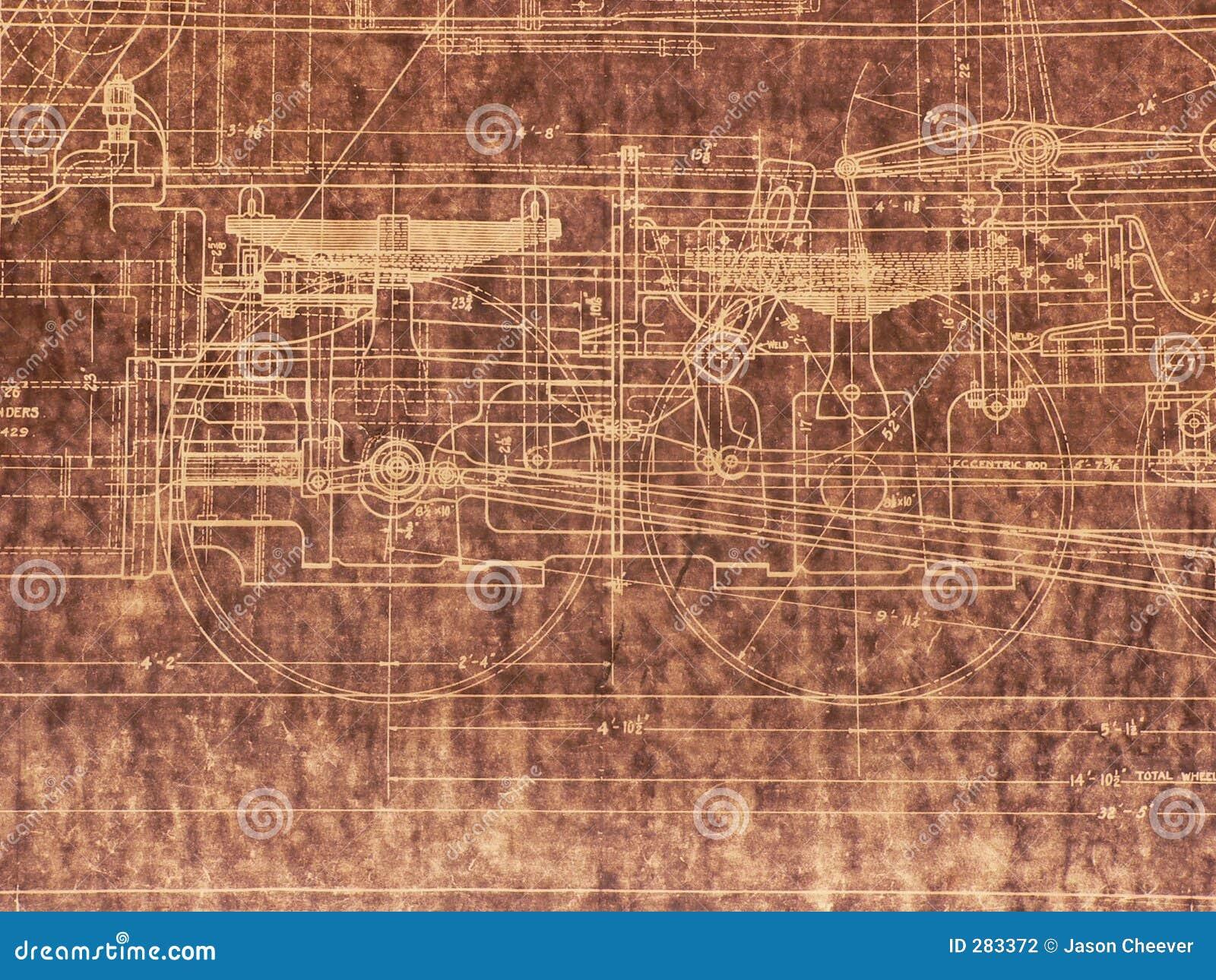 Old locomotive blueprint stock illustration illustration of past old locomotive blueprint malvernweather Images