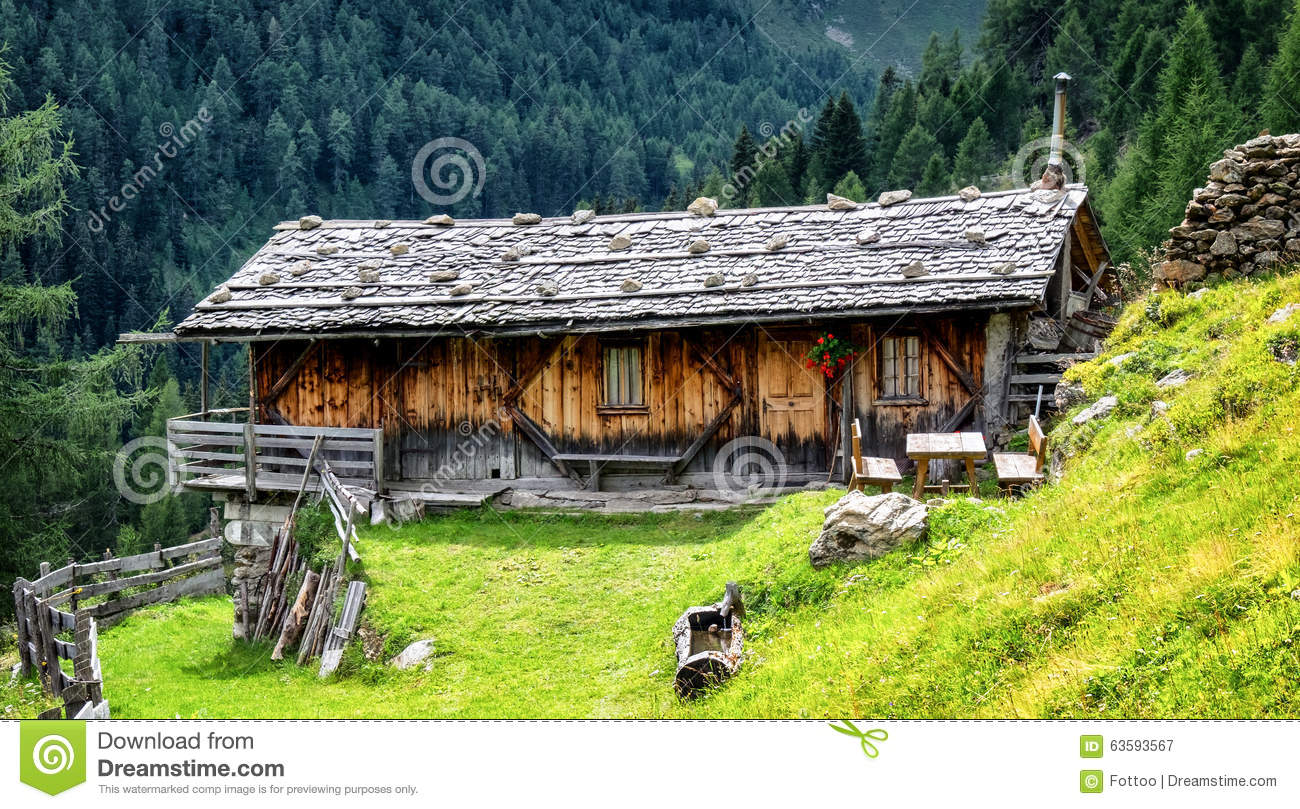Old Log Cabin Stock Photo Image 63593567