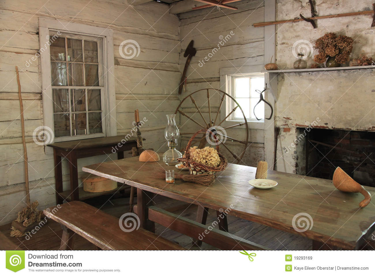 Old Log Cabin Interior Royalty Free Stock Images Image