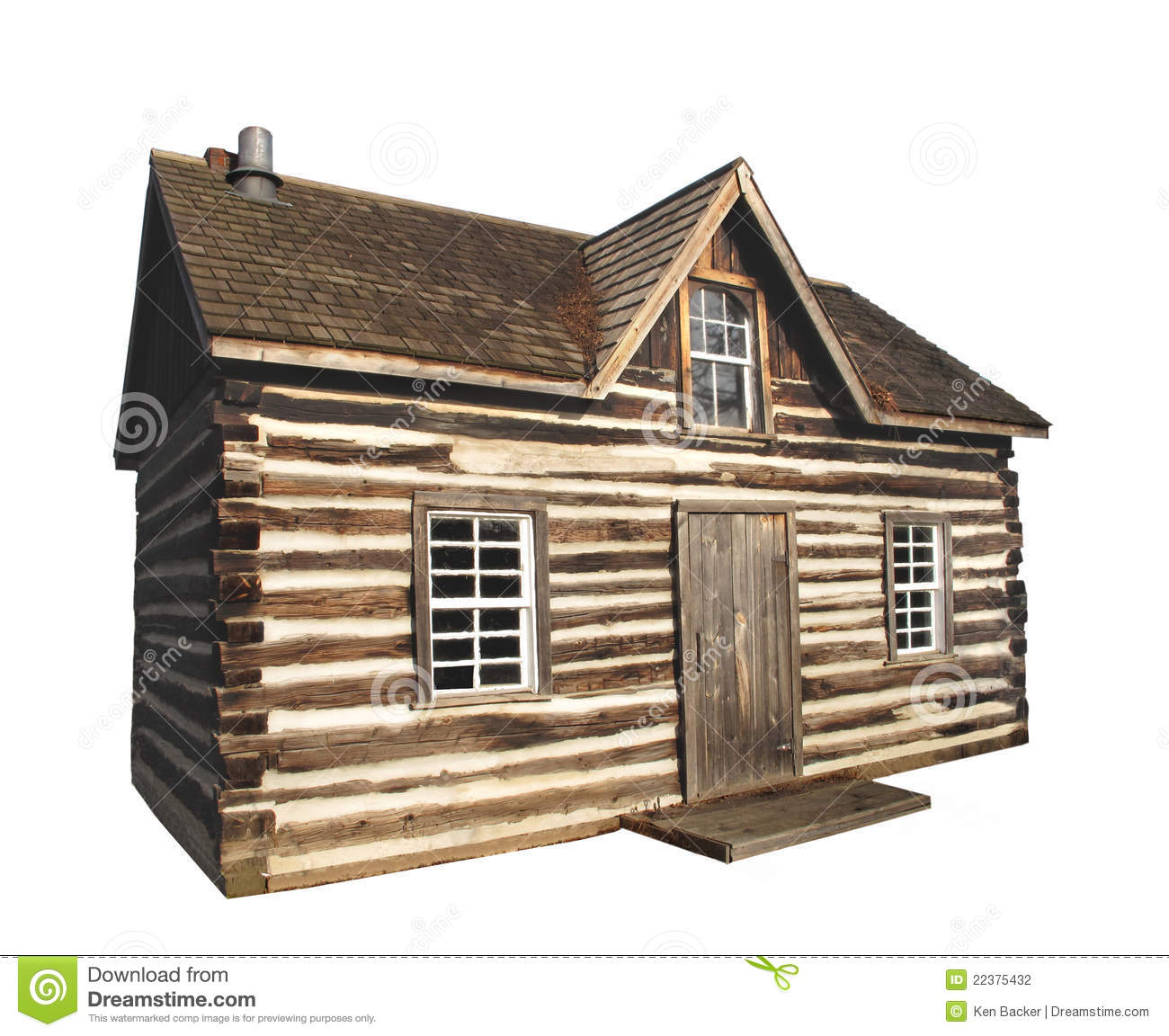 Old Log Cabin Isolated Stock Photo Image Of Antique