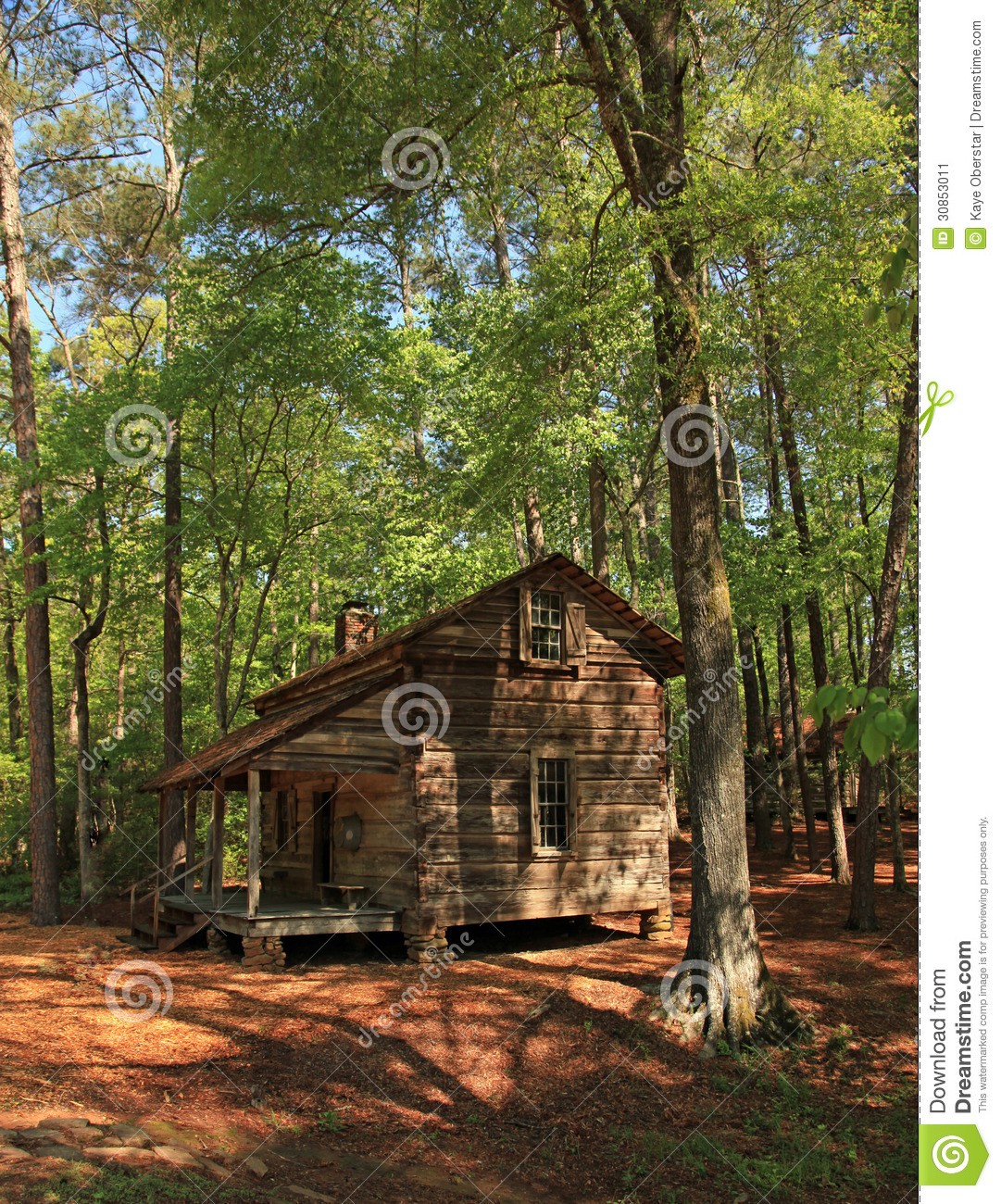 Old Log Cabin Pioneer Living Stock Image - Image of gardens ...