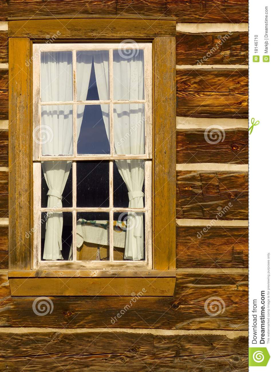 Old Log Cabin Window Stock Photo Image 18146710