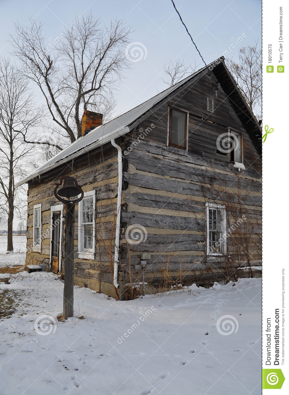 Old log cabin in winter stock photo image of wooden