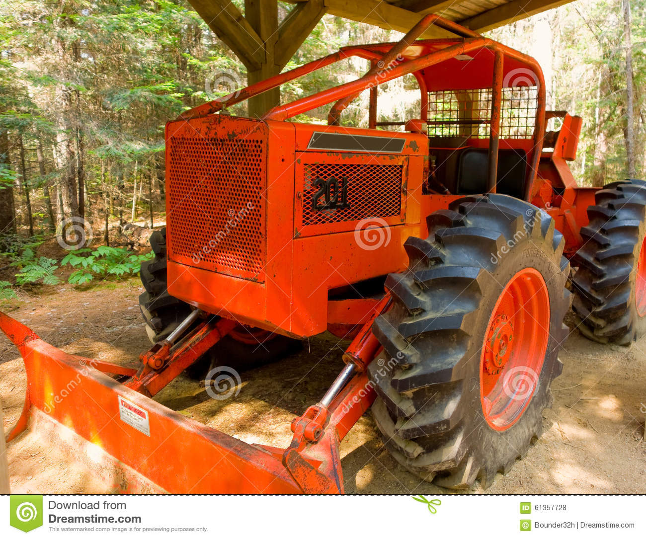 Skidder Wheels Equipped With Snow Chains Royalty Free