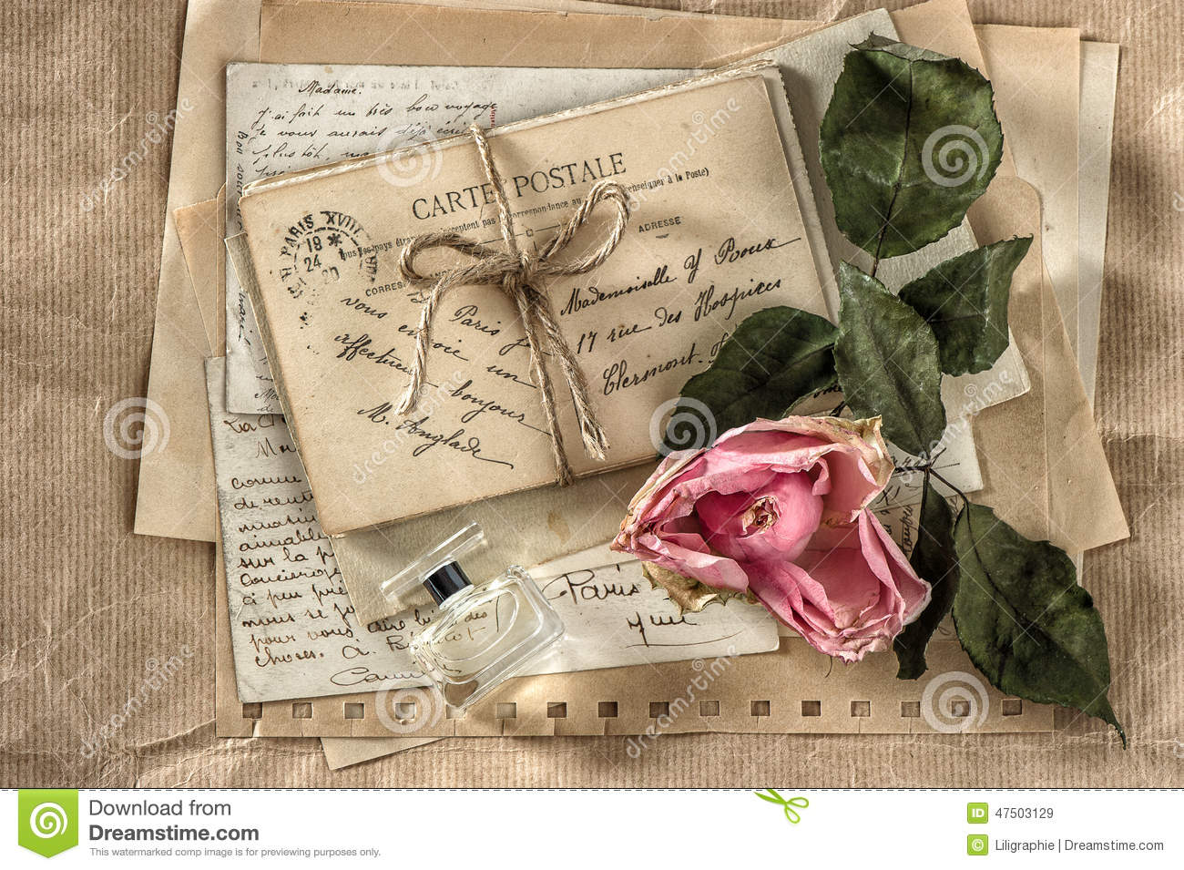 How to scrapbook dried flowers - Old Love Letters Perfume And Dried Rose Flower Scrapbook Paper