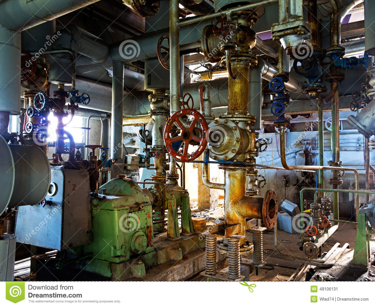 Old machinery of abandoned factory from inside stock photo for A l interieur inside
