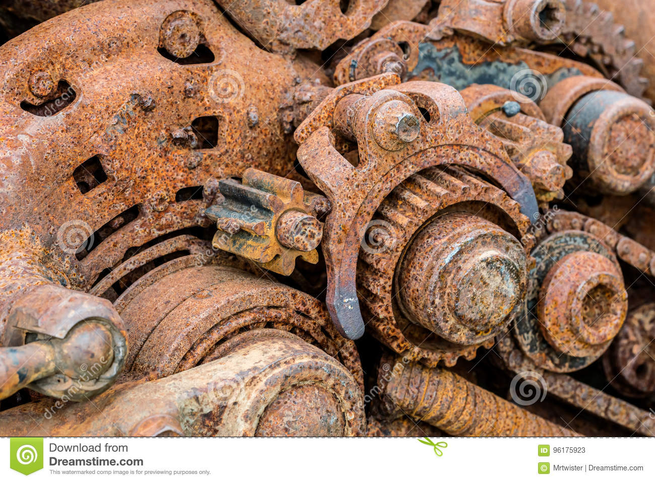 Hq Old Machinery Parts : Old machinery parts corroded metal gearwheels closeup