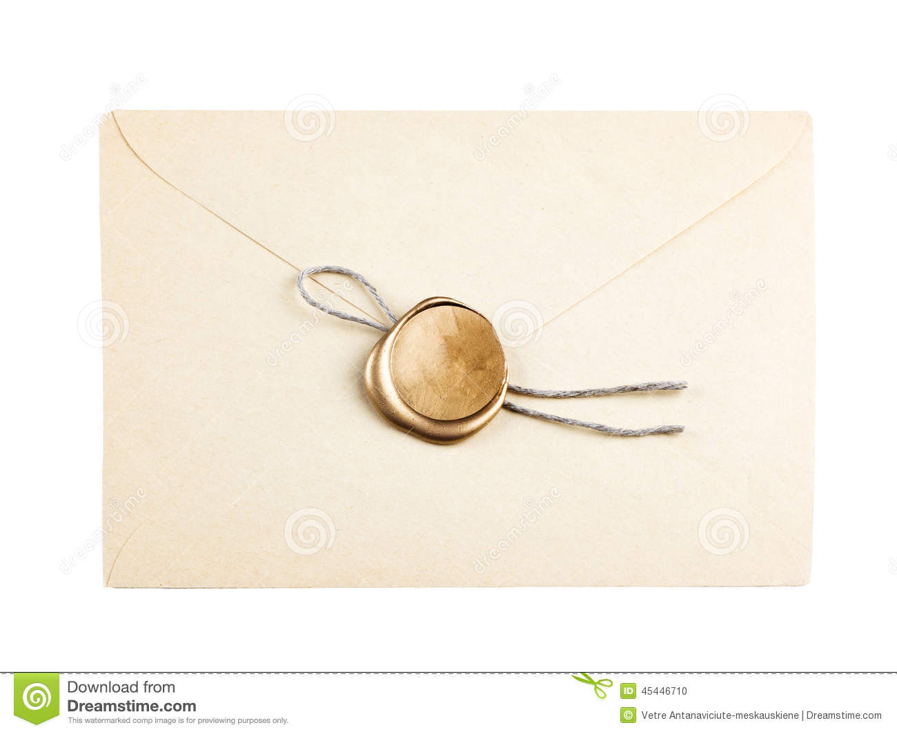 old mail envelope with gold wax seal stamps stock photo image of