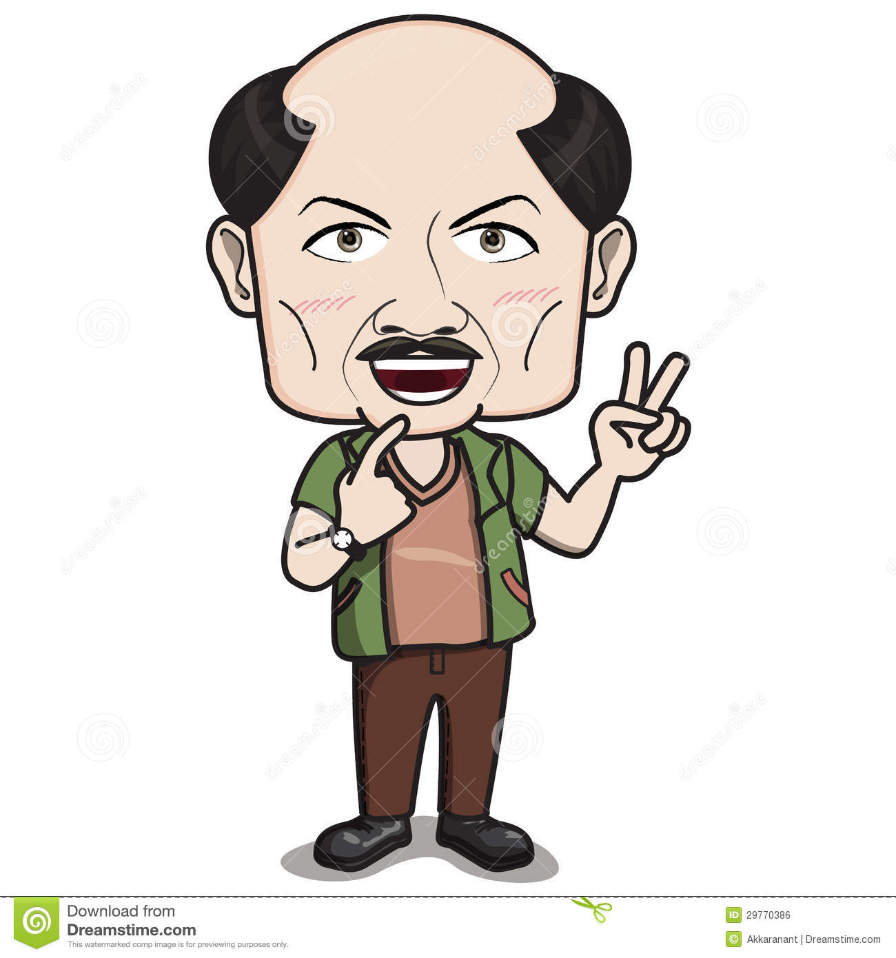2 Male Cartoon Characters : ฺbald headed man character smiling with finger hand