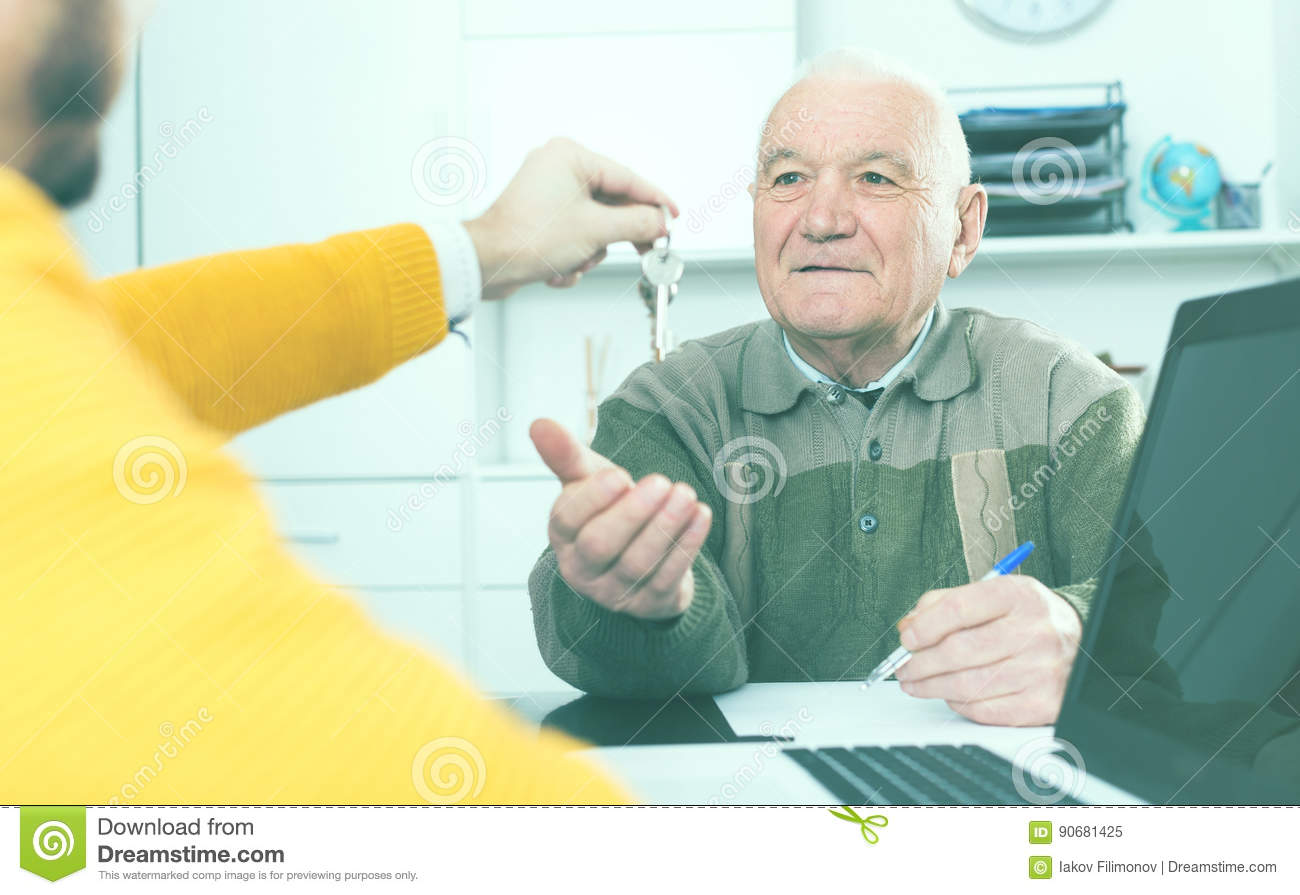 Old Man And Agent Sign Lease Contract Stock Image Image