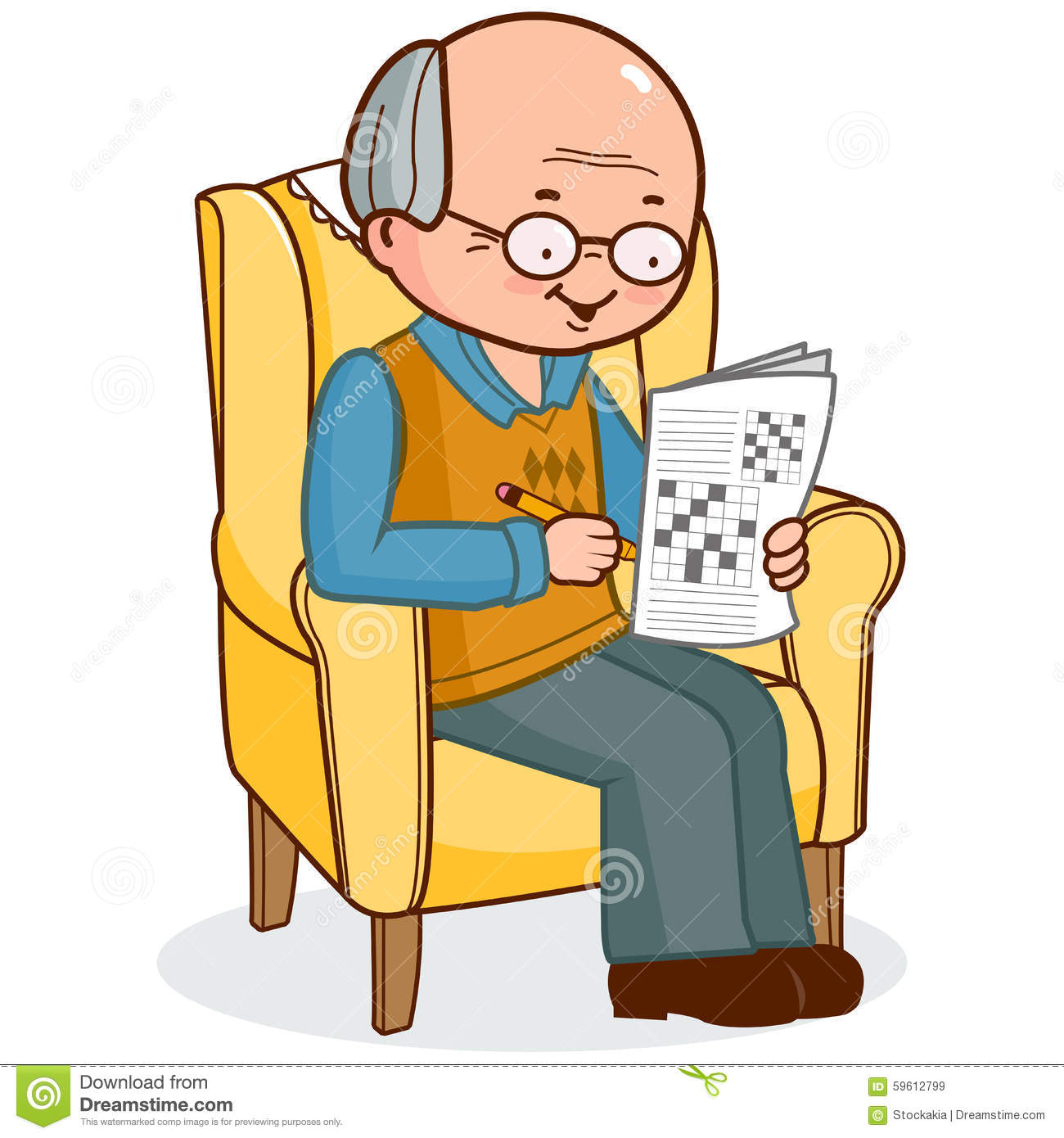 Old Man In Armchair Solving A Crossword Puzzle Stock