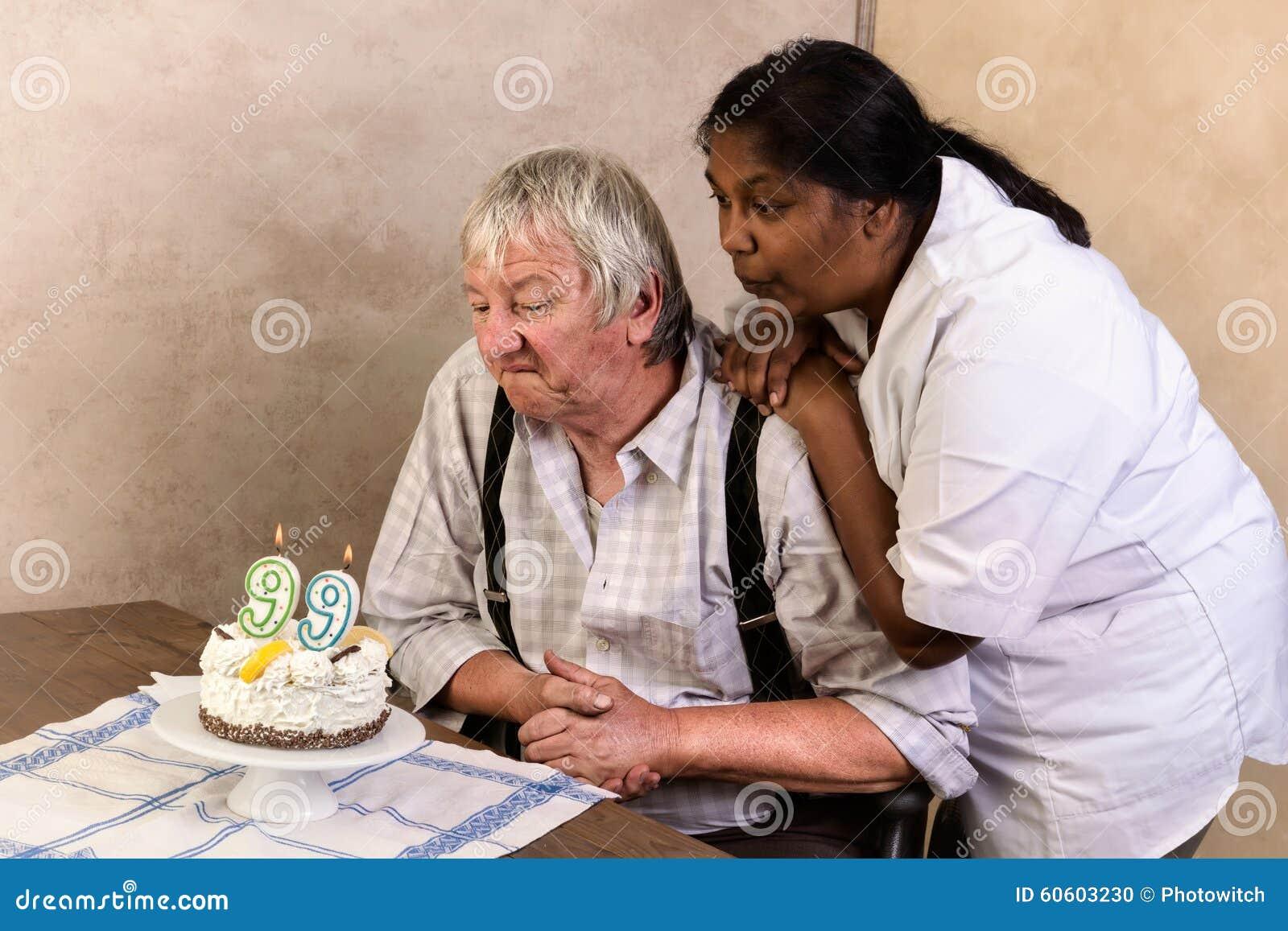 old man with birthday cake stock photo image of grey