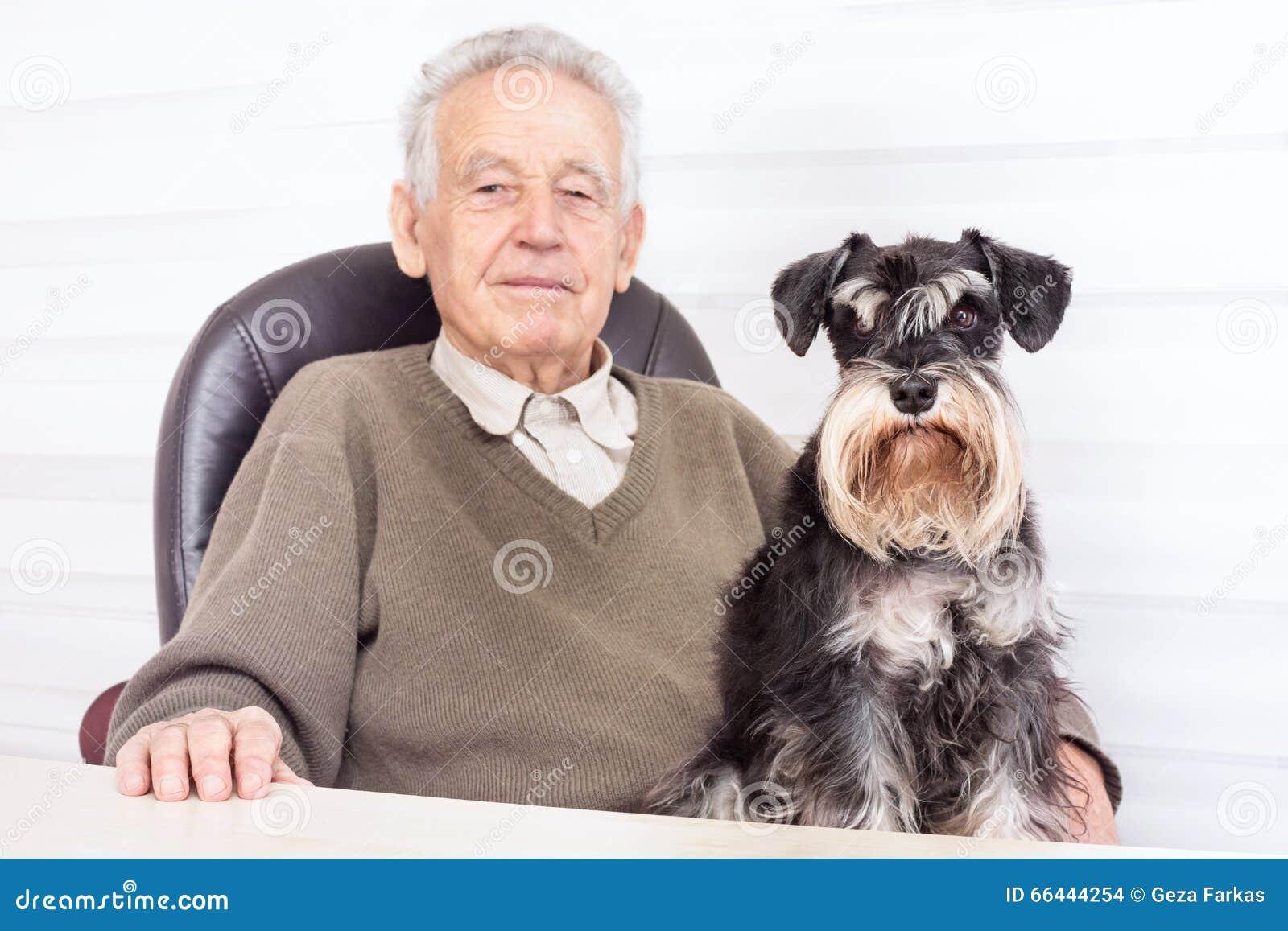 Old man with black Miniature Schnauzer Dog
