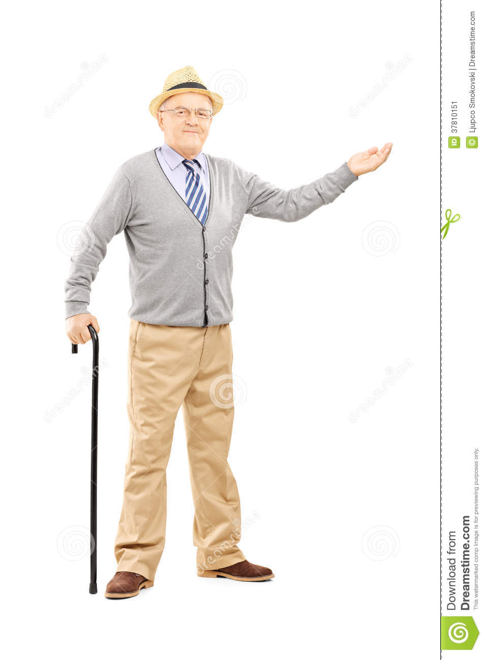 Old Man With Cane Gesturing With Hand Stock Image - Image ...