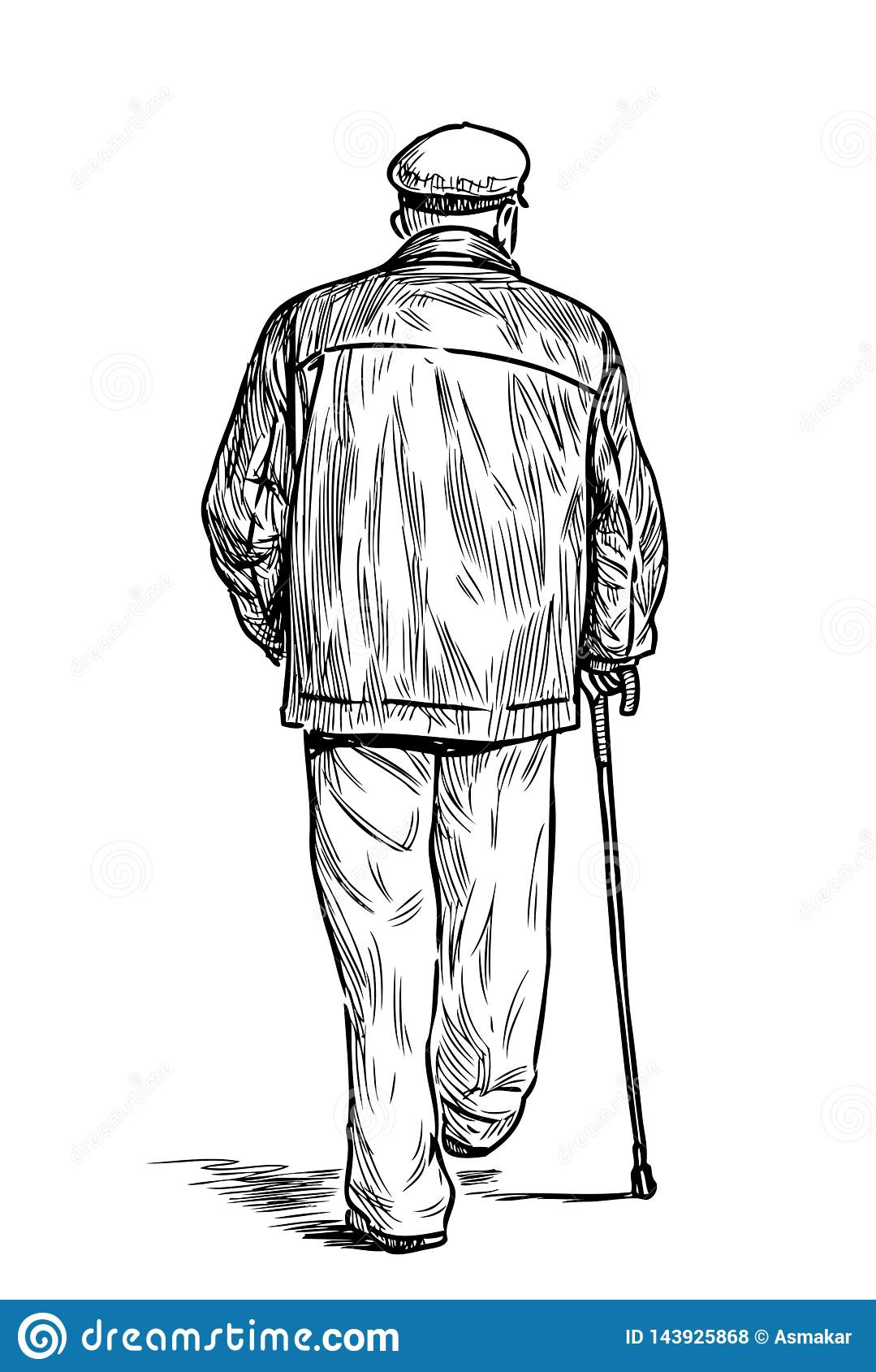 An Old Man With A Cane Goes Down The Street Stock Vector Illustration Of Mature Hand 143925868