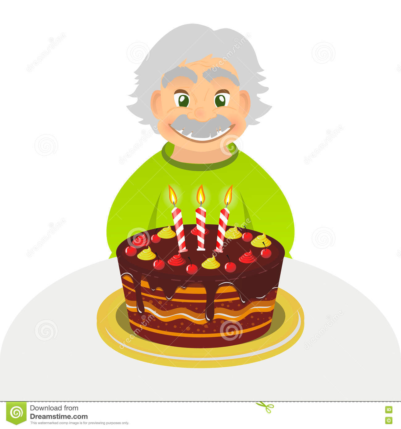 Old Man Celebrating Birthday Senior Man With Chocolate Cake And