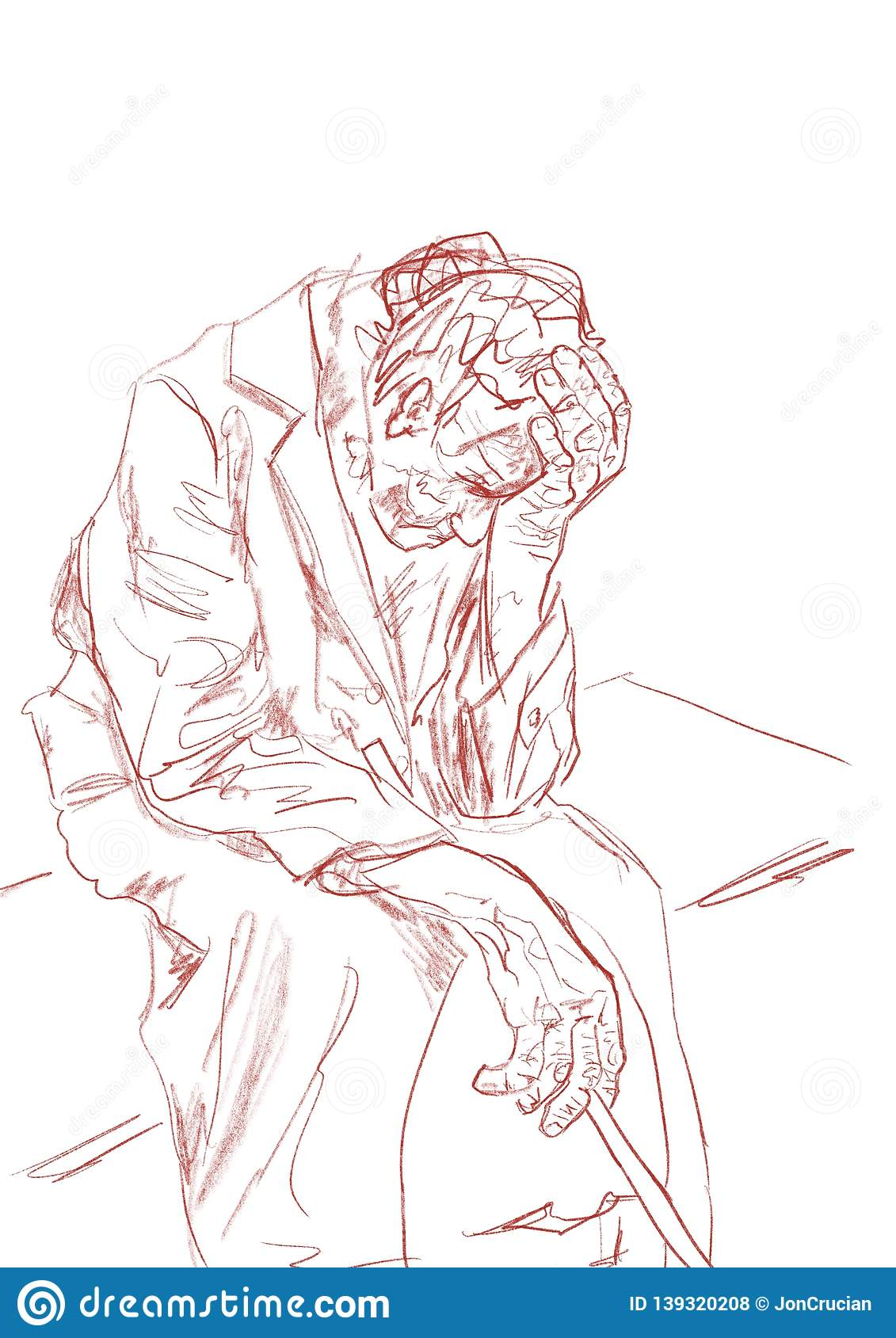 Lonely old man sitting on a bench pencil sketching