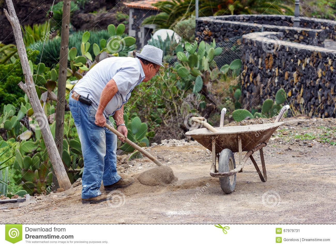 Old man is digging ground in his garden editorial photo for Digging ground dream meaning