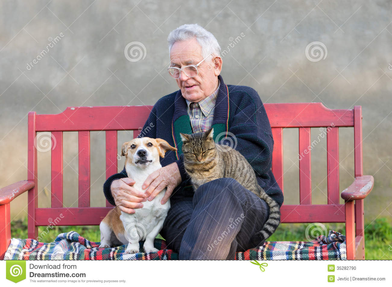 Old Man With Dog And Cat Stock Photo Image 35282790