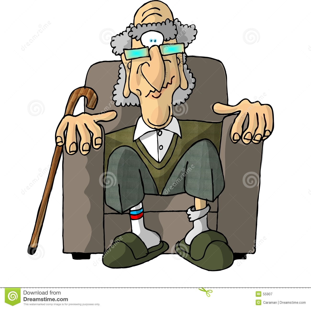 This illustration that I created depicts an old man sitting in a chair ...