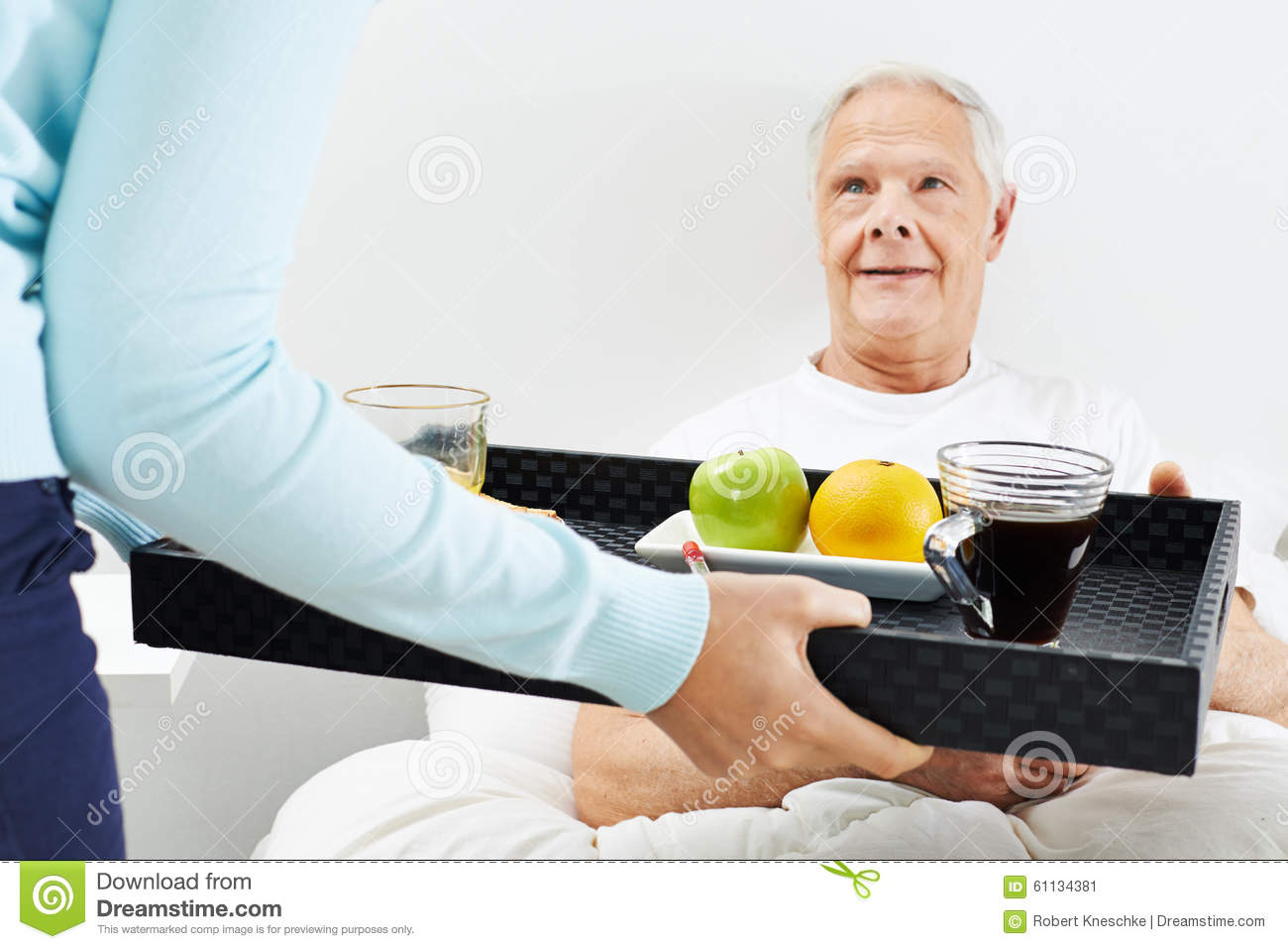 Old Man Eating Breakfast In Bed Stock Photo - Image: 61134381